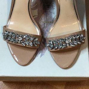 Jessica Simpson Shoes - Jessica Simpson Nude Jeweled Heeled Sandal 9